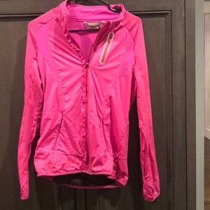 Athleta Prevail Running Jacket Ruffle Hot Pink